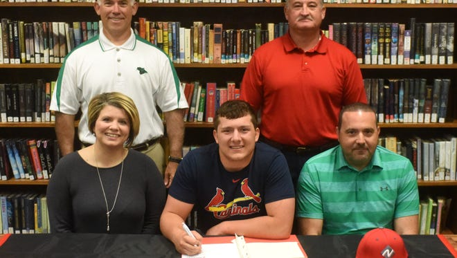 Yellville-Summit's Brock Vigna signed Monday to play baseball for North Arkansas College in Harrison. Shown with Vigna are: (first row) his parents, Jeanell and Franco Vigna, and (second row) Yellville-Summit baseball coach Steve Jones and North Arkansas College Athletic Director Bobby Howard.