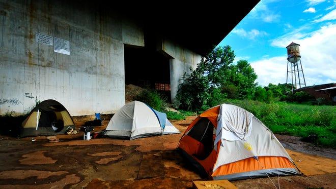 Inside Tent City, an organized makeshift homeless housing community, under a bridge in Greenville on Wednesday, August 21, 2013.