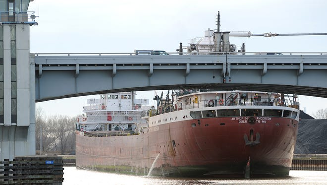 The Arthur M. Anderson unloads coal just south of the Don A. Tilleman Bridge along the west bank of the Fox River in Green Bay on Nov. 11, 2010.  35 years ago it was the ship sailing with the Edmund Fitzgerald when it sank and subsequently helped search for survivors.