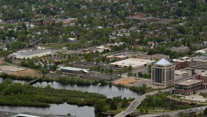 The east riverfront area is pictured May 25, 2013 along the Wisconsin River in Wausau.