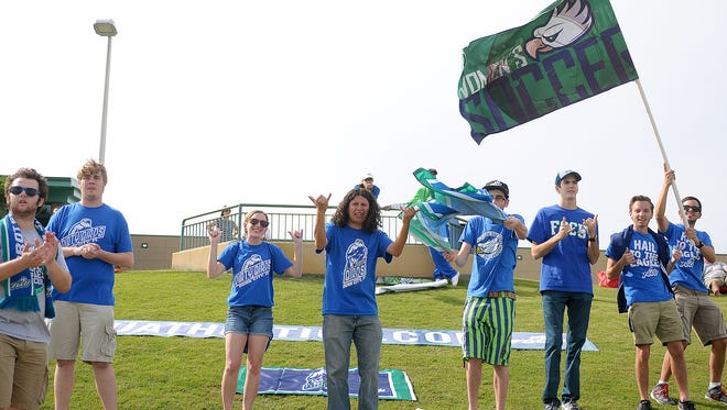 Students made the trek north to support their team.  The FGCU women's soccer team won their first NCAA first round game after being eliminated in their last three attempts by  defeating the Bulls from USF 2-1 in the first round of the NCAA Women's Soccer Tournament match held at Corbett Stadium on the USF campus on Saturday, Nov. 14, 2015.