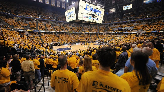 Here's what a Gold-out looks like at Bankers Life. The Pacers will have free gold T-shirts for all fans at Game 4 on Thursday.  I