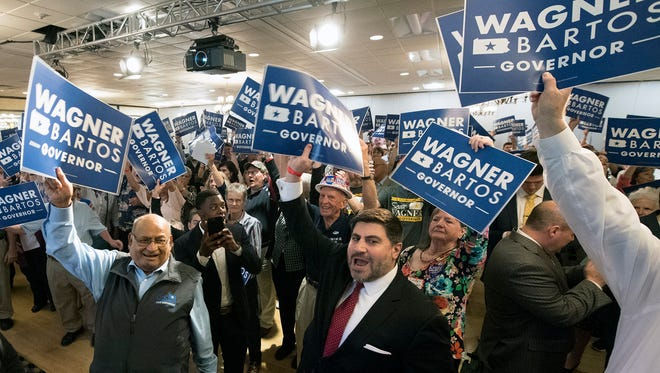 Fans greet State Sen. Scott Wagner after he wins the Republican nomination for Pennsylvania governor.