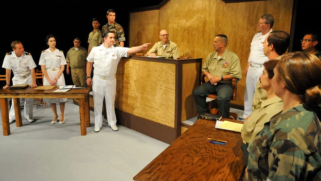 "During the courtroom scene of the advance on the Visalia Players production of ""A Few Good Men."""