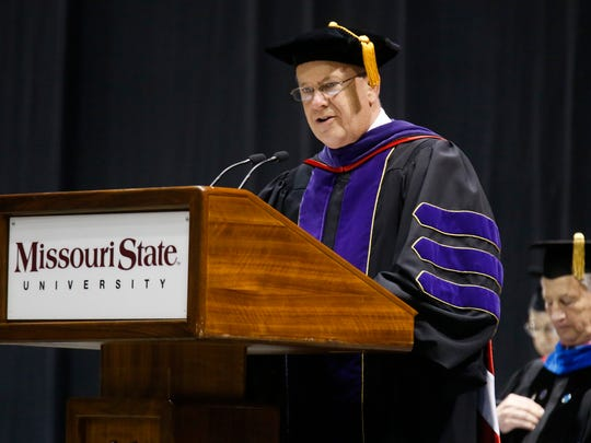 In May 2018, Missouri State University President Clif Smart addressed the crowd during a commencement ceremony.