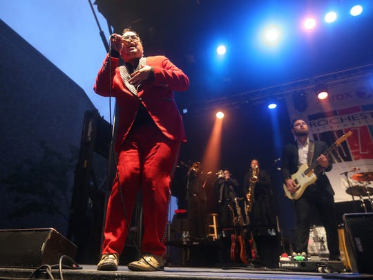 Paul Janeway of St. Paul & the Broken Bones performs on the outdoor stage at East Ave. and Chestnut St.