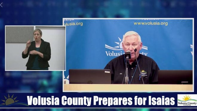 Jim Judge, Volusia County's emergency management director, talks about hurricane preparation at a storm update on Saturday.