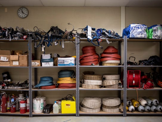 Equipment lines a wall in a classroom Wednesday, Feb.
