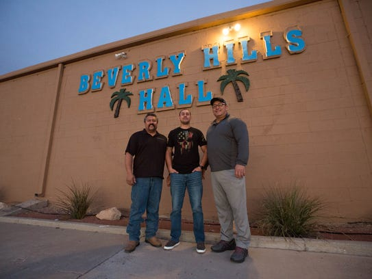 Victor Perez, co-owner of the Beverly Hills Hall and Cantina, stands with his nephew Justin Perez, the general manager, and Chris Perez, co-owner and Victor's brother outside the business. Thursday January 4, 2018.