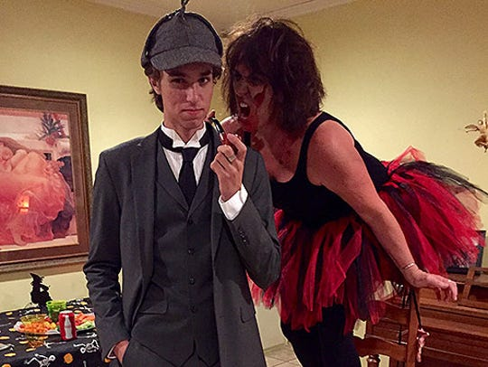 Sawyer and Karina Bland on Halloween.