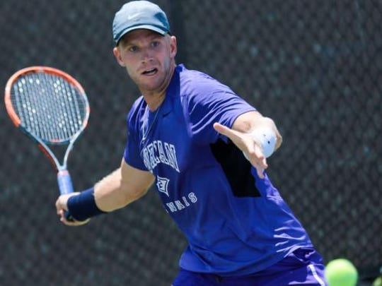 Adam Steryous of Taylors plays for the Furman ITA men's singles title.  Furman played host to the Intercollegiate Tennis Association tournament for men and women.  July 25, 2016