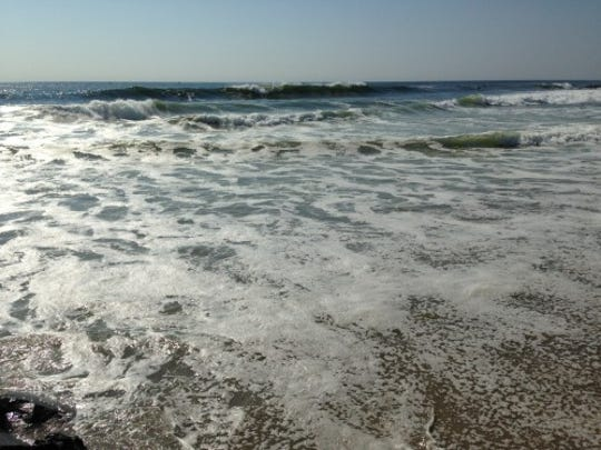 Waves break in Asbury Park today