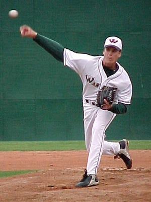 Kyle Hill pitching for Wayne State against Grand Valley State in 2004.