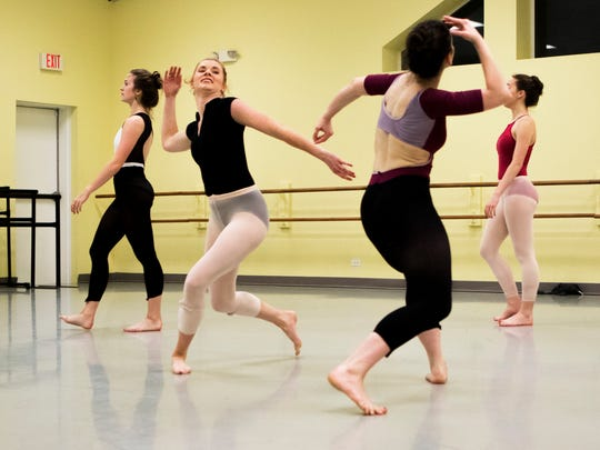 Eva Edinger, second from left, rehearses for a perfromance at Missy Crain Studio in Monroe on Wednesday, February 8, 2017. Edinger, a Louisiana Tech student who dances and competes in Miss Louisiana, was born with a congenital heart condition.