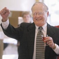 Bill Allen acknowledges the crowd after he was announced as the Dairyfest parade marshal in this June 2004 file photo. Allen, who died in September 2007, recently was named a Local Broadcast Legend by the Wisconsin Broadcasters Association.