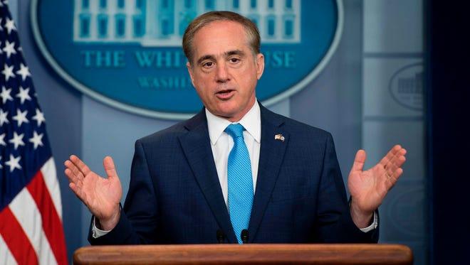 Secretary of Veterans Affairs David Shulkin speaks during a White House press briefing Wednesday.