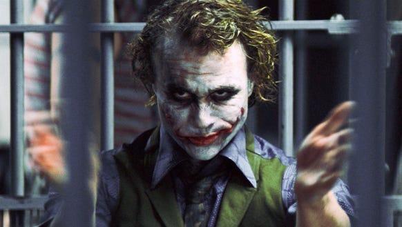 "Heath Ledger as The Joker, in ""The Dark Knight."""