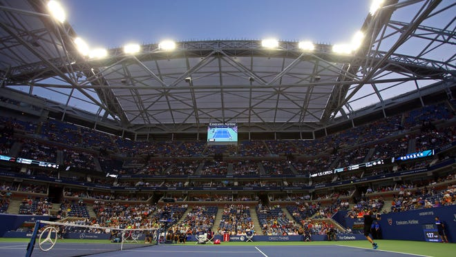 A general view of Arthur Ashe Stadium as Andy Murray serves to Nick Kyrgios on day two of the 2015 U.S  Open at USTA Billie Jean King National Tennis Center.