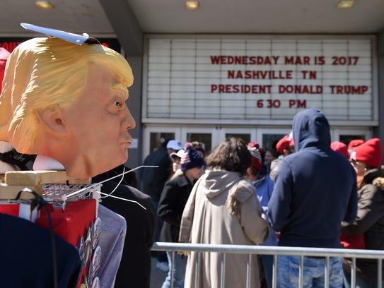 Trump merchandise sits in front of Municipal Auditorium