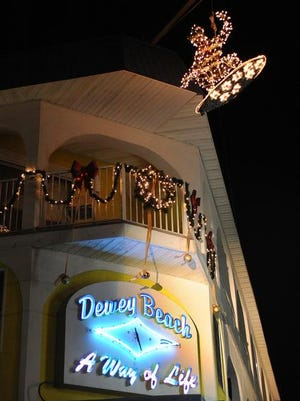 """The """"SkimBoarder"""" is ready for the drop to ring in the New Year in Dewey Beach."""