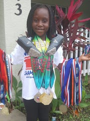 Katia Powell competed unattached in AAU track meets for the past five months all over the state. Katia won gold in the long jump with a 8-foot, 2-inch jump at the Primary Championship at the Wide World of Sports.