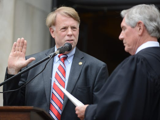 The swearing-in ceremony for newly elected Madison County Sheriff John Mehr was held Tuesday in downtown Jackson.