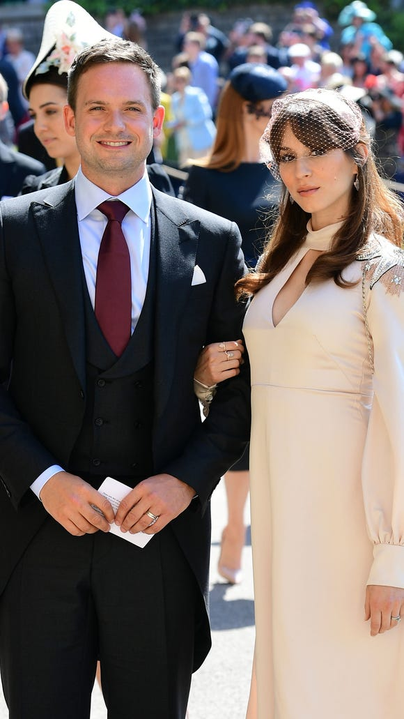 """Patrick J. Adams and wife Troian Bellisario attended the Royal Wedding in May -- Adams played Meghan Markle's husband on """"Suits."""""""