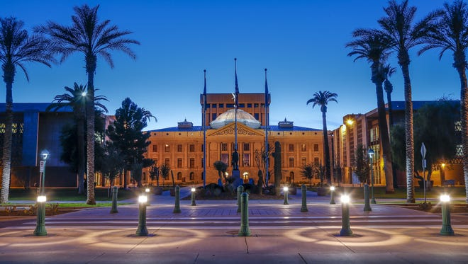 Arizona's historic capitol building, flanked by legislative offices built in 1960.