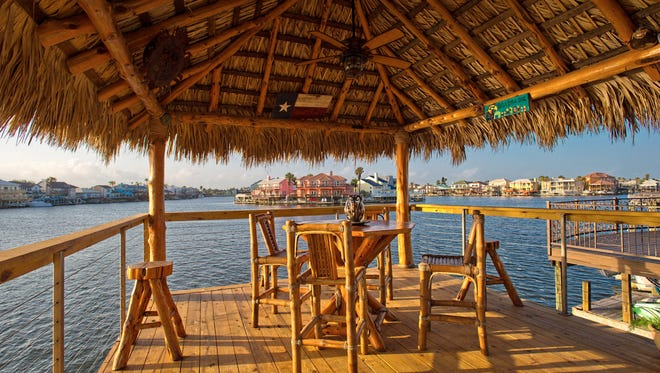 Amazing panoramic Padre Island water views abound from the upper deck's palapa