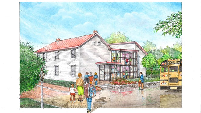Rendering of the proposed Levi Coffin visitor center.