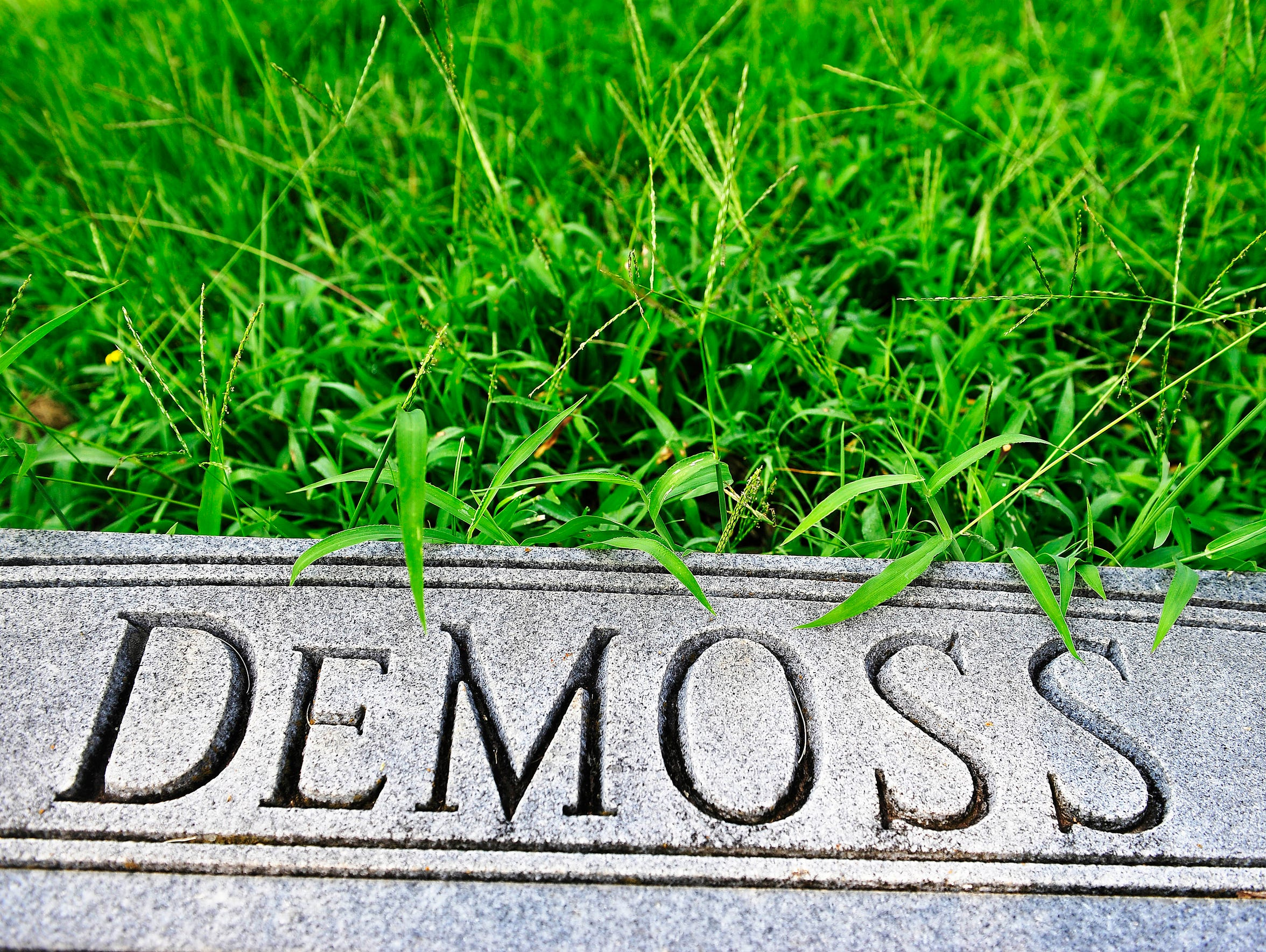 The headstone of Jim and Harold DeMoss' parents rests