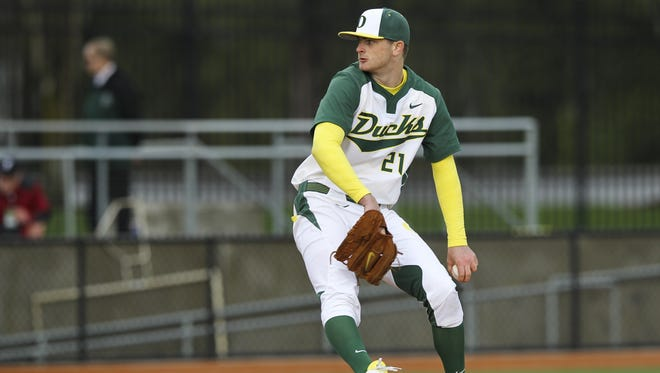 Matt Krook and the Oregon Ducks take on the Portland Pilots at PK Park on February 25, 2014 in Eugene, Oregon.