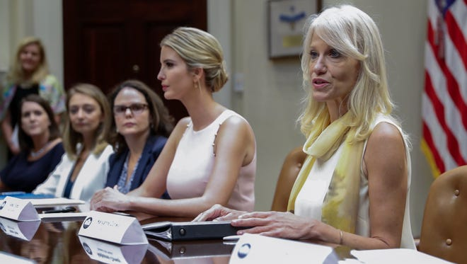 Conway, alongside Ivanka Trump, delivers remarks in a listening session for military spouses in the Roosevelt Room of the White House on Aug. 2, 2017.