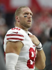 San Francisco 49ers tight end Garrett Celek pauses