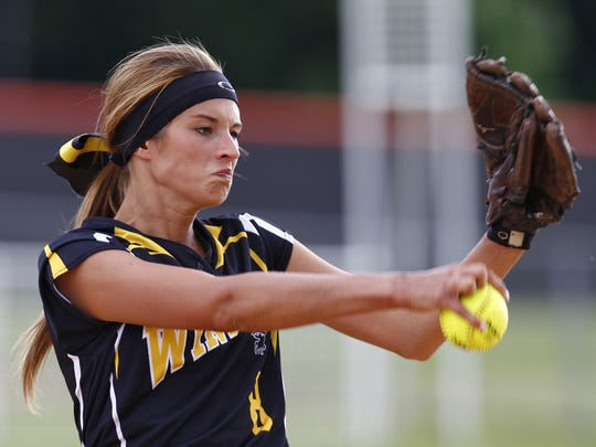 Windsor's Mara Kohlbach pitches against Almar-Parish-Williamstown during a Class B state quarterfinal Friday at Union-Endicott. Kohlbach threw a two-hitter in Windsor's 5-0 victory.  Thomas La Barbera / Correspondent Photo
