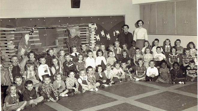 The very first Kindergarten class at West Elementary in Newcomerstown from the 1957-58 school year. The teacher was Mrs. Mary Perkins and the teacher's aide was Miss Marsha Peoples. This class would be part of the graduating Class of 1970 at Newcomerstown High School.