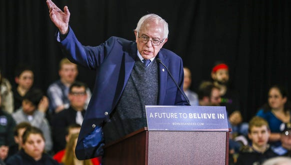 Vermont Sen. Bernie Sanders speaks to a crowd of voters