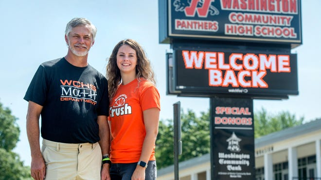 Despite some apprehension about COVID-19, retired Washington Community High School math teacher Jeff Little, left, still plans to work as a substitute teacher this year while his daughter Baylie, also a math teacher, will be starting her first year as a full-time teacher at the school.