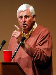 Former Indiana basketball coach Bob Knight gestures during a speech at Butler University in Indianapolis, Wednesday, Sept. 14, 2011.