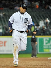 Tigers' Miguel Cabrera rounds the bases on his three-run home run in the fifth inning.