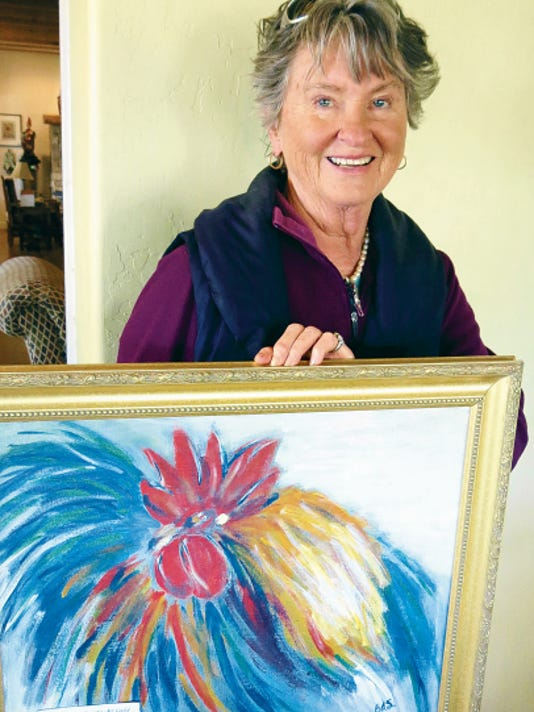 "Courtesy Photo   Grant County Art Guild member Barbara Smith displays one of her colorful acrylic paintings, ""King of the Coop."""