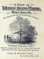 An advertising card for Mont Alto Park from the late 1870s, promoting the park's famous shooting gallery.