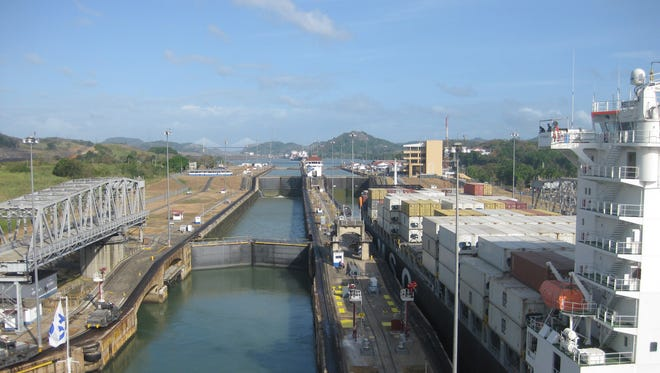 The cruise ship enters the Miraflores Locks on the Panama Canal.