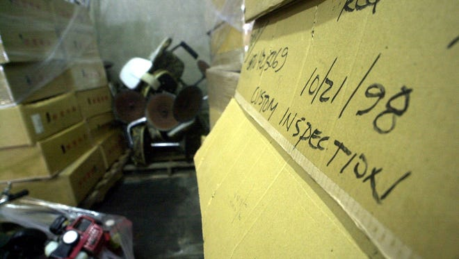 Items that were seized over the years by the Department of Customs and Quarantine are shown here in storage at the Port Authority of Guam in 2001.
