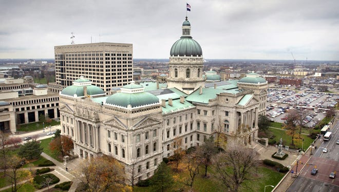 Indiana State House (looking northwest, from the roof of the Capitol One Building) at the corner of Capitol and Washington Streets.