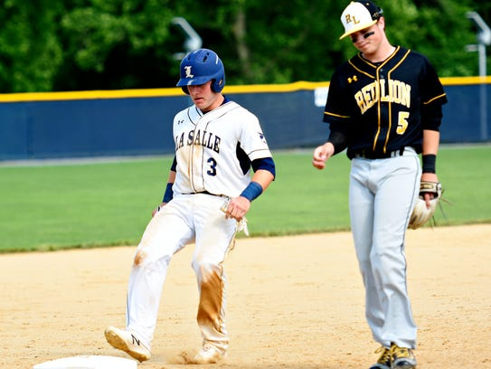 Red Lion's Connor Dewees reacts as La Salle College's