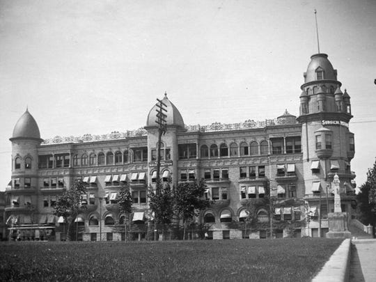 The National Surgical Institute as seen from the Statehouse lawn. The institute was on the northwest corner of Ohio and Capitol streets.
