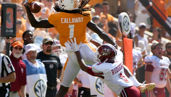 Vols wide receiver Marquez Callaway (1) is unable to catch the pass during the first half against UMass on Saturday, Sept. 23, 2017, at Neyland Stadium.