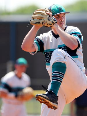 Siegel's John Lanworthy (9) pitches against Science Hill in the 2018 Class AAA State Baseball during Spring Fling on Wednesday, May 23, 2018, at Siegel High School, in Murfreesboro.