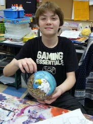 One ornament is decorated with a bald eagle